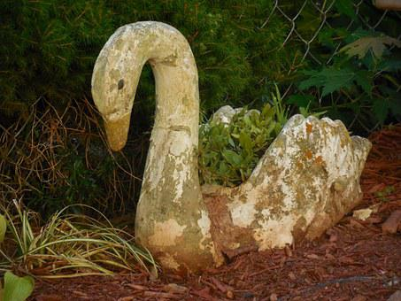 Yard Art, Swan, Bird, Pose, Garden, Yard, Planter
