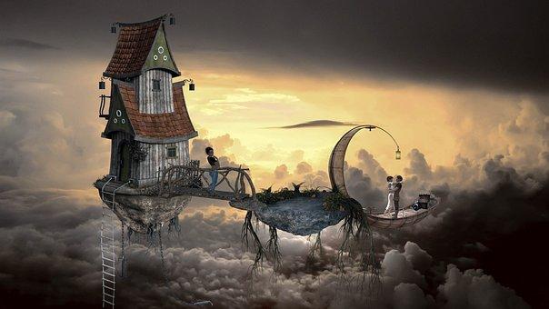 Fantasy, Sky, Clouds, Composing, Human, House, Airship