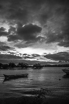 Landscape, Sky, Boat, Nature, Clouds, Sea, Sun, Night