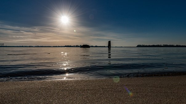 Hamburg, Beach, Blankenese, Elbe, Water, Port City, Sky