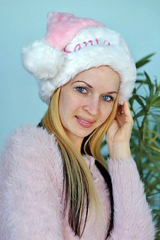 Blonde Woman, Santa Claus, Smile, Facial, Holiday