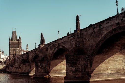 Prague, Bridge, River, City, Historic Building