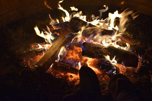 Fire, Camp, Winter, Night, Wood, Burning, Flames, Red
