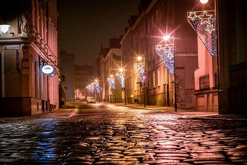 Paving Stones Street, Illuminations, Christmas, Opole