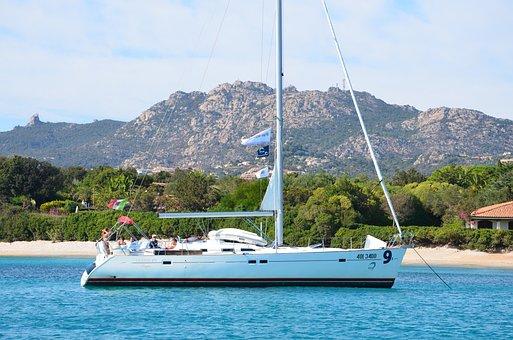 Sardinia, Boat, Sailboat, Anchor, Sailboat Centered