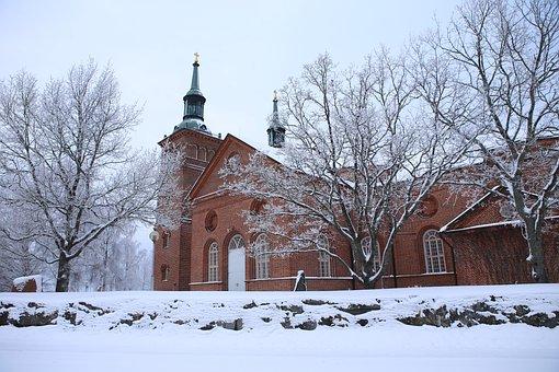 Winter, Frost, Snow, Landscape, Architecture, Sastamala