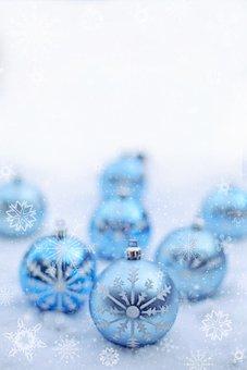 Snow, Snowing, Ornaments, Pale Blue, Light Blue, Winter