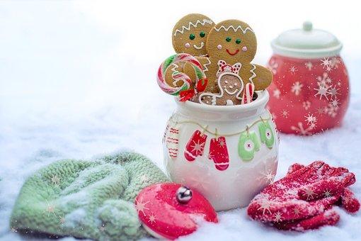 Winter, Snow, Snowy, Gingerbread Men, Cookies, Mittens