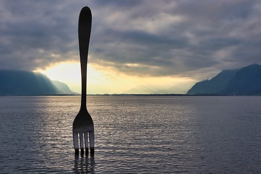 Fork, Sculpture, Vevey, The Fork, Lake, Art, Abstract