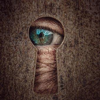 Key Hole, By Looking, Eye, Tensioner, Curiosity, Watch