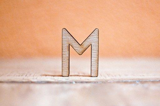 Letter, M, Wood, Cut Out, Laser Cut, Abc, Macro
