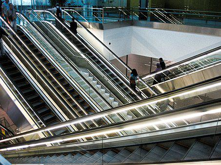 Escalator, Stairs, Railway Station, Airport
