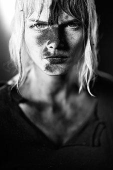 Coal, Woman, Intense, Dirty, Unclean, Art, Portrait