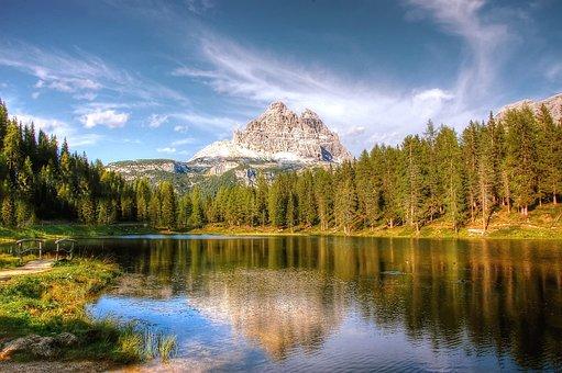 Lake Antorno, Tre Cime, Dolomites, Italy, Mountains