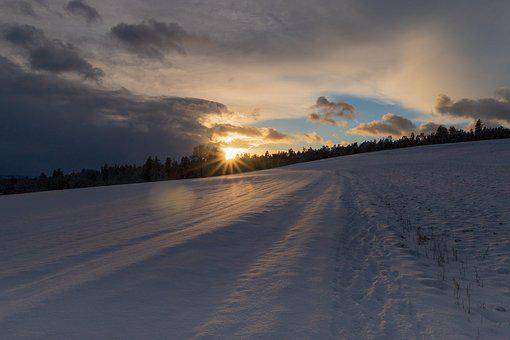 Winter Way, Snow, Wide, Mood, Sunset, Rest, Sky