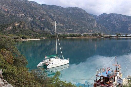 Boat, Oludeniz, Blue, Fethiye, Beach, Turkey, Mountains