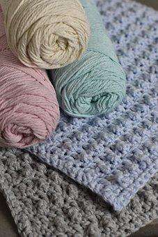 Cotton, Crochet, Washcloth, Pastel