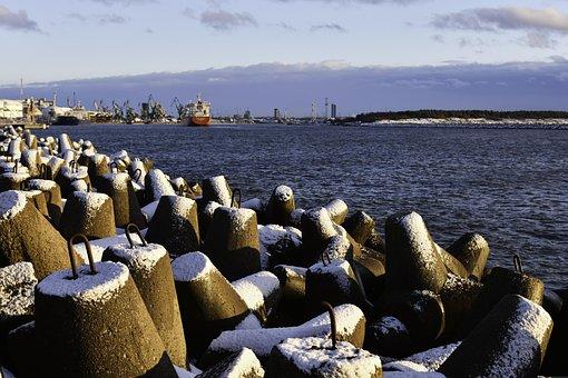 Port, Winter Scenic, Harbor, Pier, Winter, Lithuania