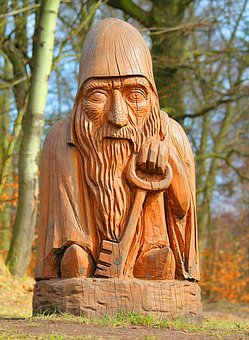 Statue, Woodcut, Pixie, Jangles, Wooden