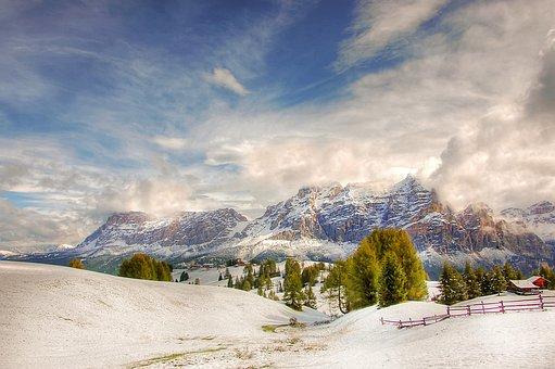 Winter, Pralongia, Mountains, Nature, Sky, Italy, Blue
