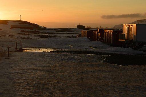 Landscape, Sunset, Antarctica, Snow, Laboratories