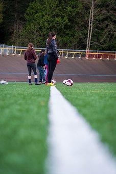 Soccer, Girls, Practice, Artificial Turf, Ball, Field