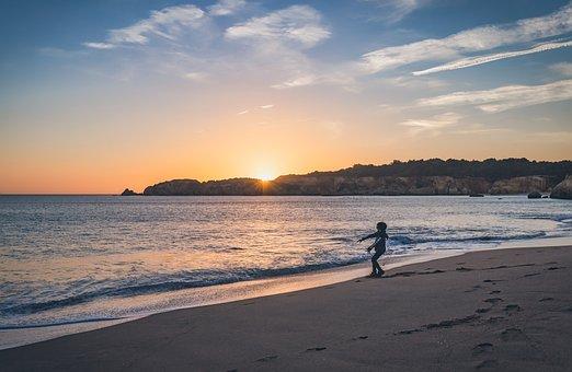Boy, Beach, Sunset, Playing, Child, Family, Sea, Kid