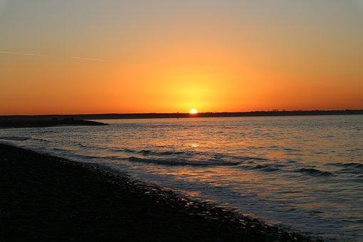 Sunset, Beach, Sea, Water, Twilight, North Sea, Nature