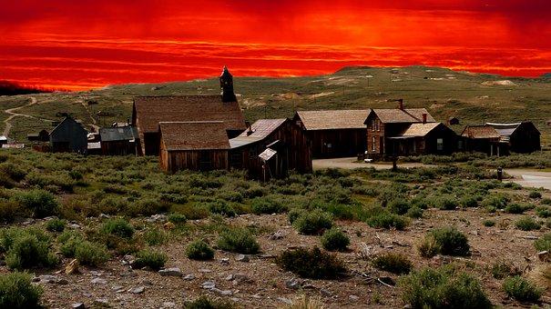 Sunset, Village Fantome, America, Mining, Tourism