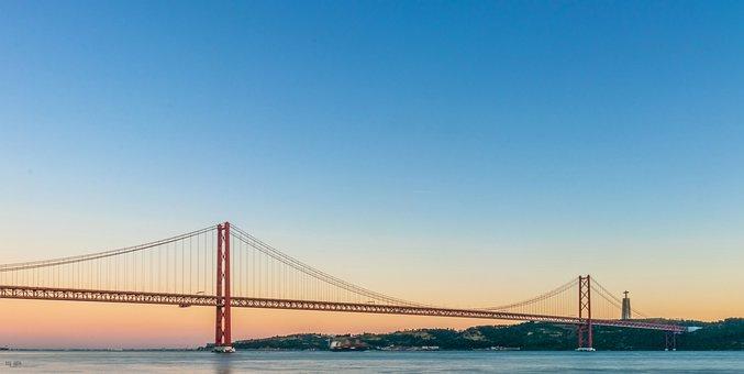 Bridge, Portugal, Rio, Tejo, Lisbon, Landscape, Water