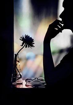 Black, Flower, Woman, Color, Window