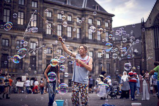 Bubbles, A Man, Square, People, Person, Summer