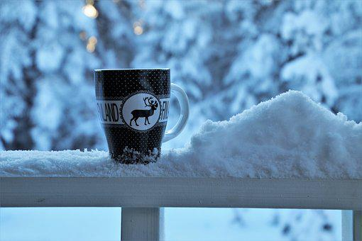 Snow, Winter, Drink, In The Morning, Teacup, Balcony