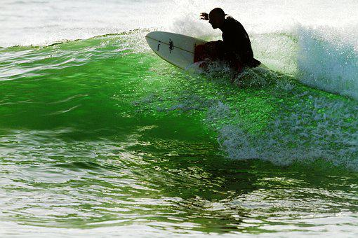 Knee Boarding, Waves, Morning, Sea, Sunrise, Beach