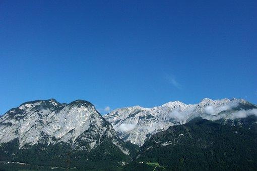 Mountains, Mountain Range, Alpine, Sky, Blue, Landscape