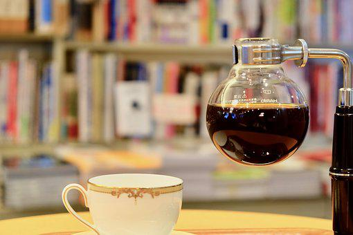 Siphon, Coffee, Books, Store, Cup, Table, Relaxing