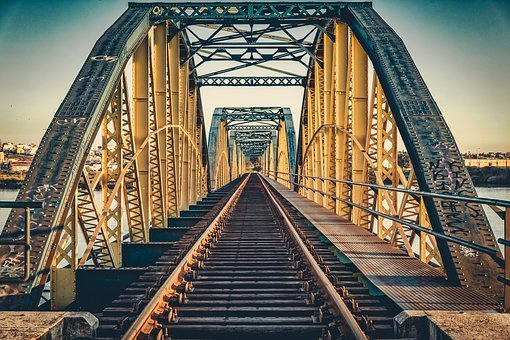 Bridge, Railroad, Sunset, Dusk, Railway, Transportation
