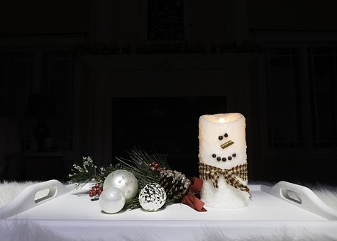 Winter, Christmas, Snowman, Candle, Night