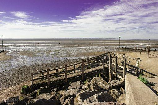 Shoeburyness, Low Tide, Sea, Clouds, England, Sky
