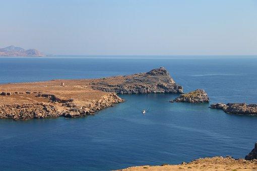 Lindos, Rhodes, Greece, Bay, Harbour Entrance, Ship