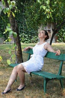 Girl, Lady, Woman, Bench, Relaxing, Garden, Park, Trees