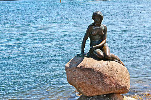 Copenhagen, Mermaid, Denmark, Statue, Sculpture, Water