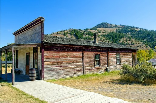 Ovitt Store, Bannack, Ghost, Montana, Historic, Blue
