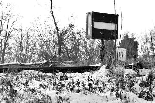 Old Baffler, Signaling, Rail, Transport, Snow, Winter