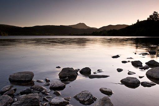 Ben Lomond, Loch Ard, Scotland, Sunset, Lake, Water
