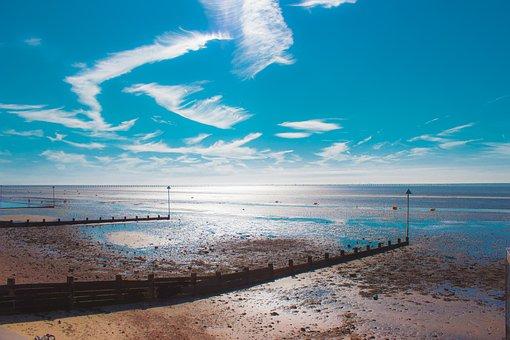 Shoeburyness, Low Tide, Sea, Clouds, England, Seaside