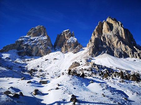 Dolomites, Italy, Skiing, Winter, Sassolungo