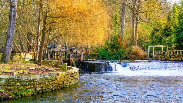 Moret Sur Loing, France, River, Rapids, Sluice, Water