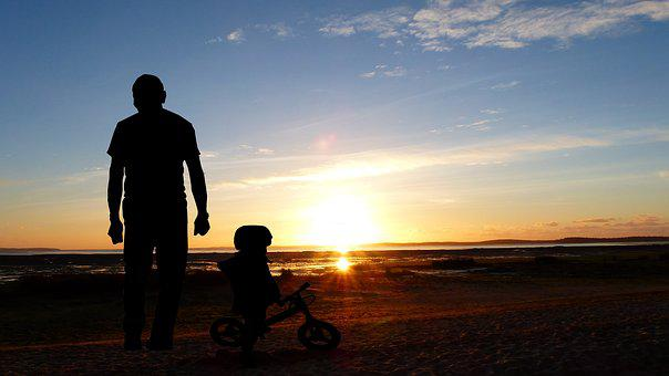 Sunset, Pere, Son, Bike, Child, Family, Sky, Landscape