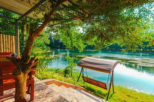 Kopi Rimbeung, Restaurant, Bench, Swing, River, Water